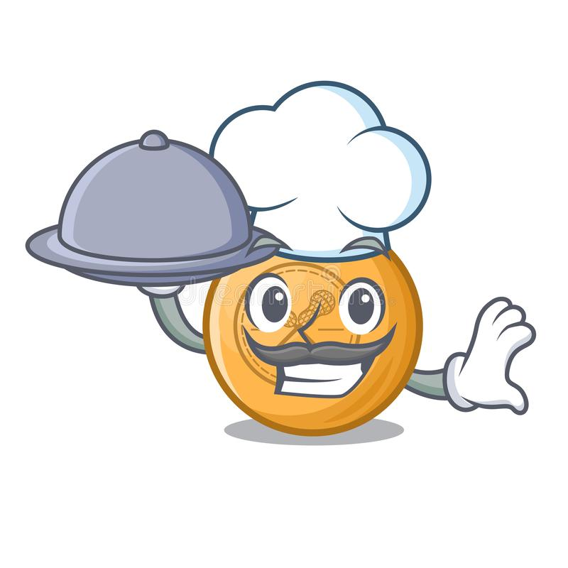 Chef with food lacrosse ball in the mascot shape. Vector illustration stock illustration