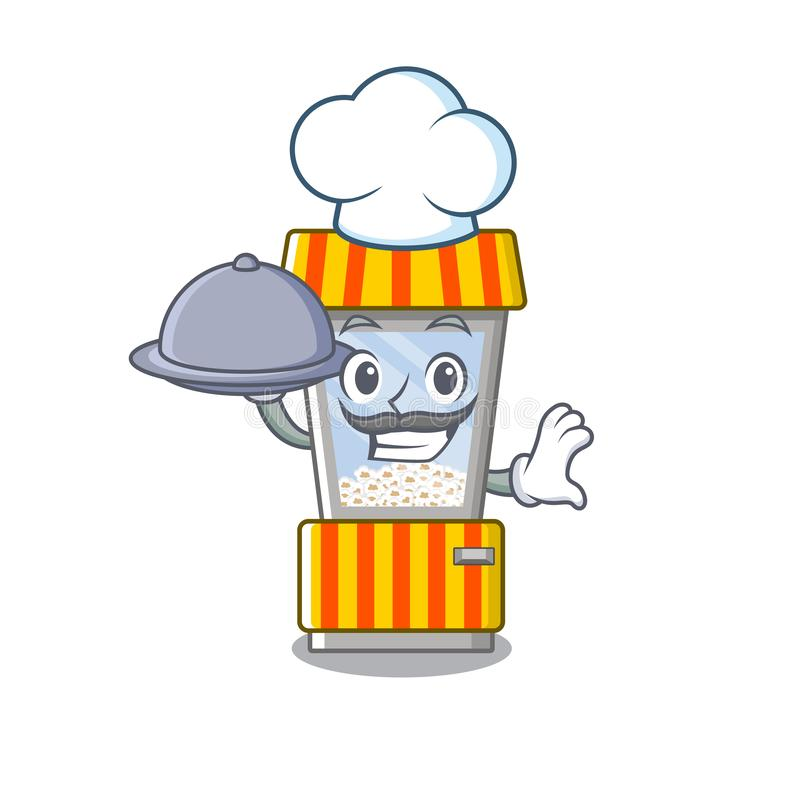 Chef with food popcorn vending machine is formed cartoon. Illustration vector stock illustration