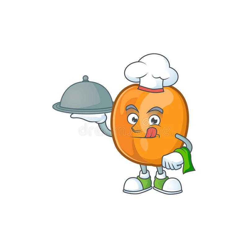 Chef with food ripe apricot character mascot of cartoon. Vector illustration vector illustration