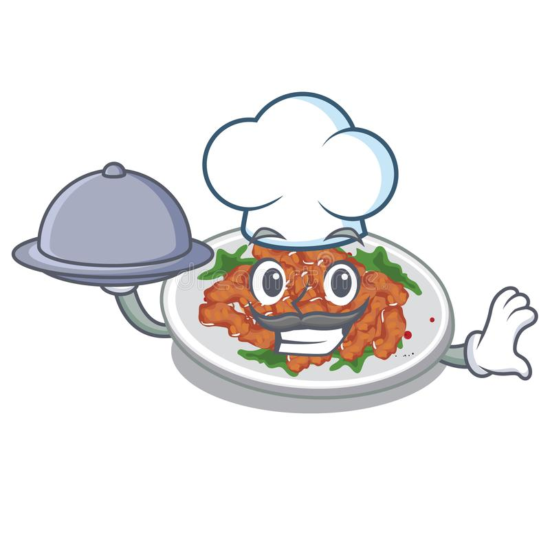 Chef with food sesame chicken in a cartoon bowl. Vector illustration stock illustration