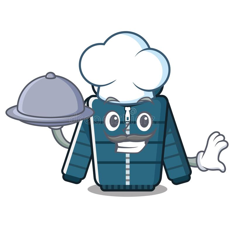 Chef with food winter coat isolated with the mascot stock illustration