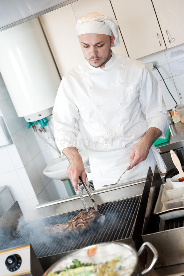 Download Chef Frying Beef Steak On Grill Stock Image - Image: 18952077