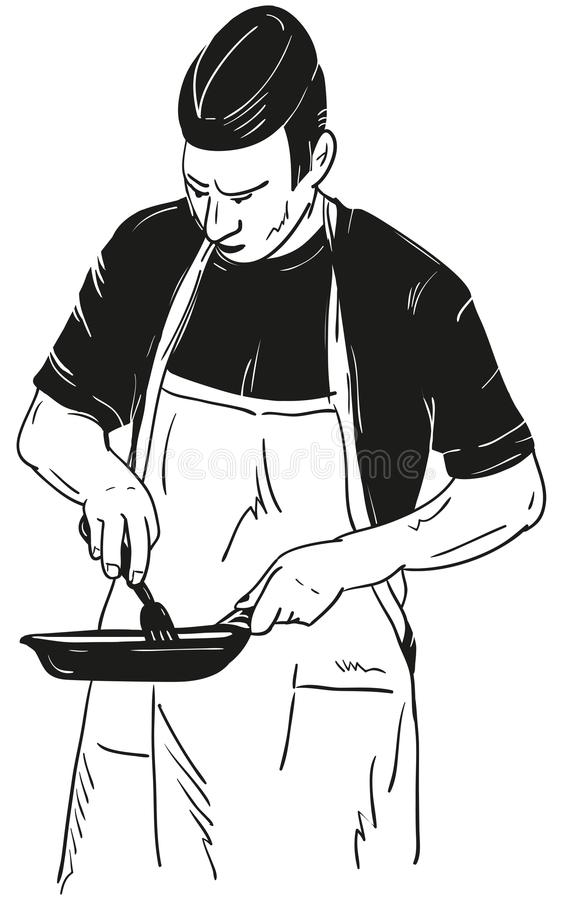 Chef with Frying Pan. Isolated on background stock illustration