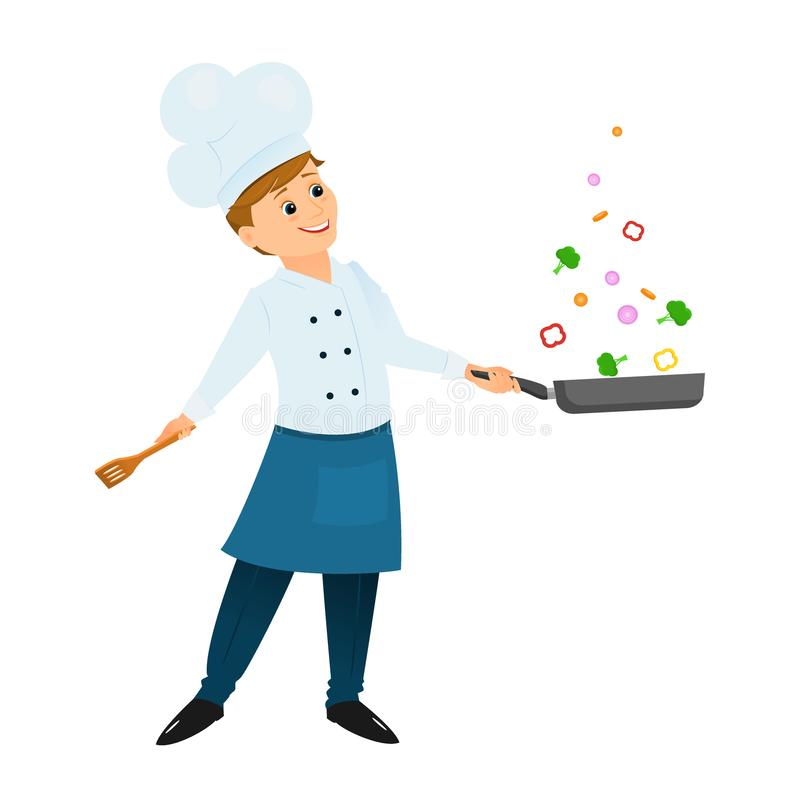 Chef with a frying pan vector illustration