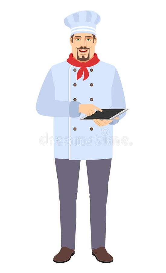 Chef Full using digital tablet PC royalty free stock photography