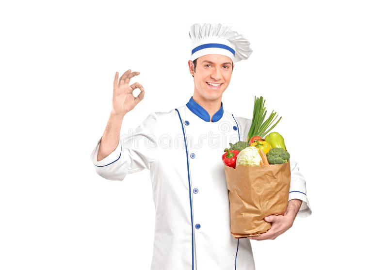Chef Gesturing Delicious Hand Sign Stock Photography
