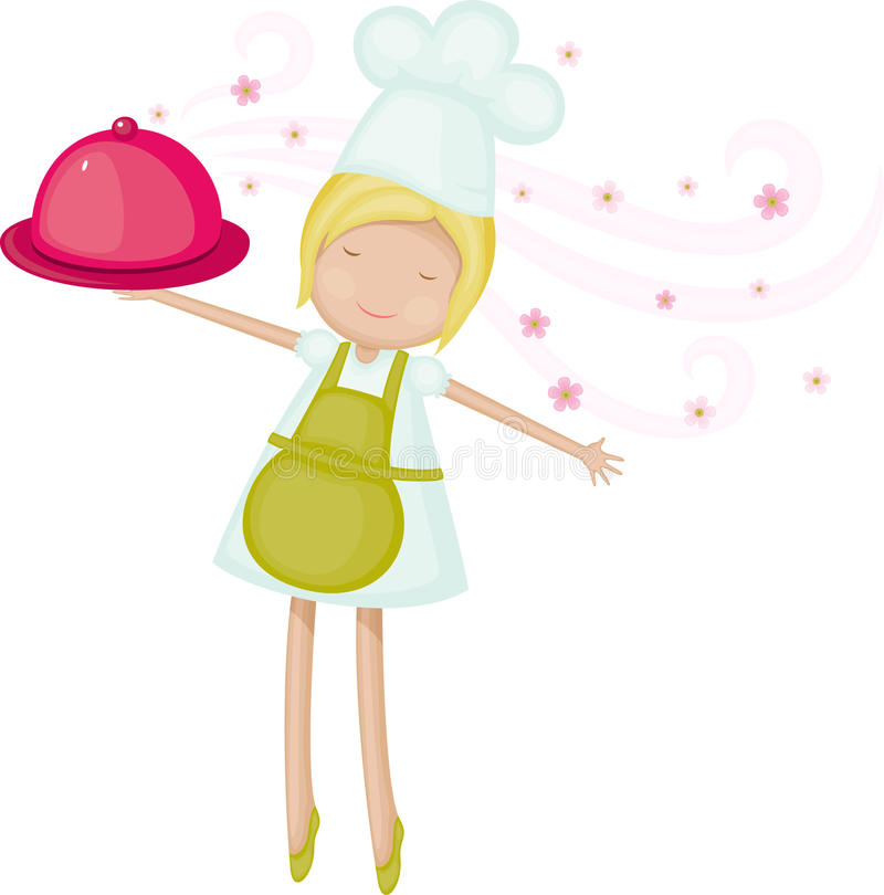 Download Chef girl stock vector. Image of cooking, floral, chef - 32667852