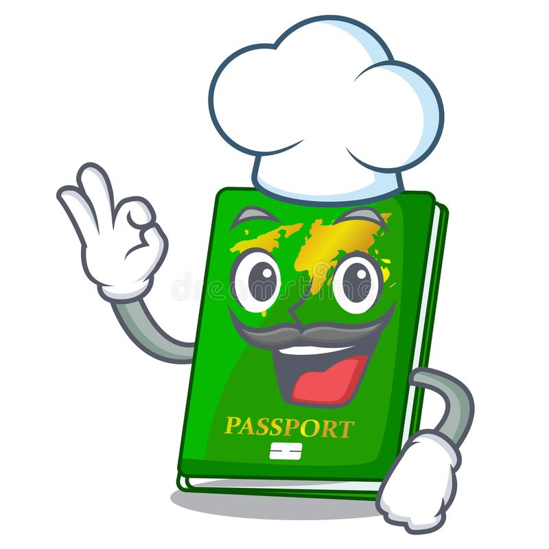 Chef green passport in the cartoon shape. Vector illustration vector illustration