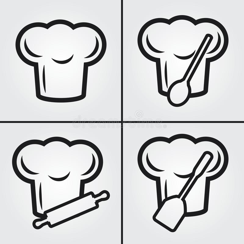 Chef Hat Cook Vector Simple Icons arkivfoto