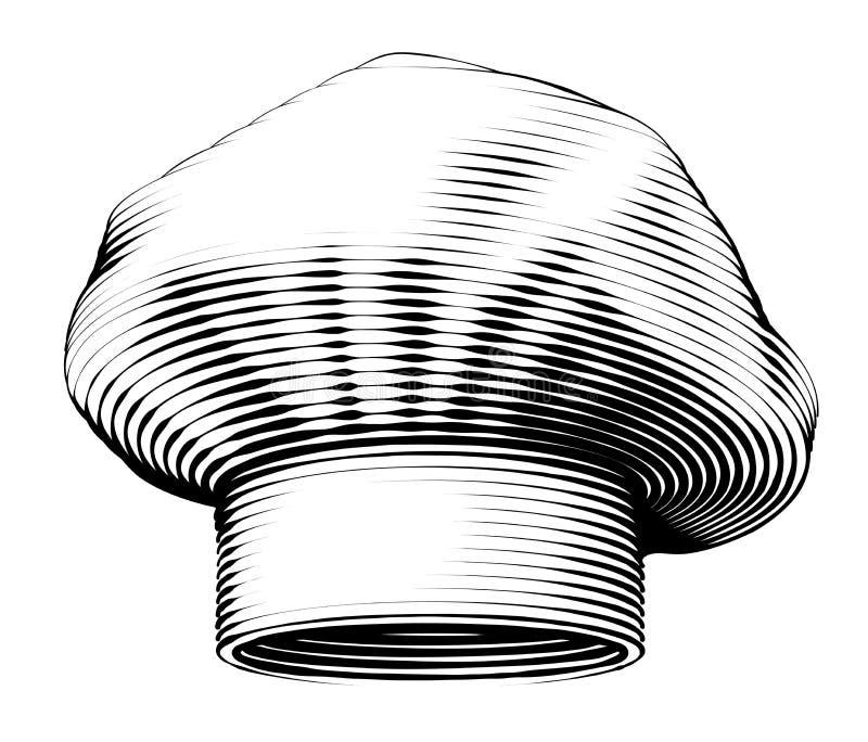 Chef Hat Dirigez l'illustration de gravure de vintage d'isolement sur le fond blanc illustration stock