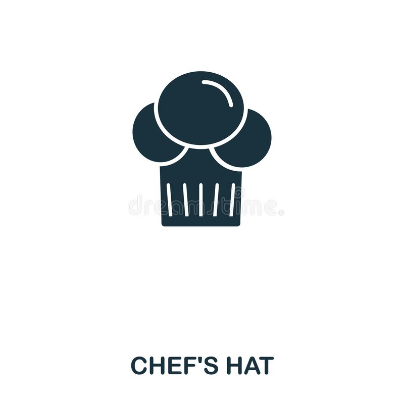 Chef Hat icon. Mobile apps, printing and more usage. Simple element sing. Monochrome Chef Hat icon illustration. Chef Hat icon. Mobile apps, printing and more stock illustration