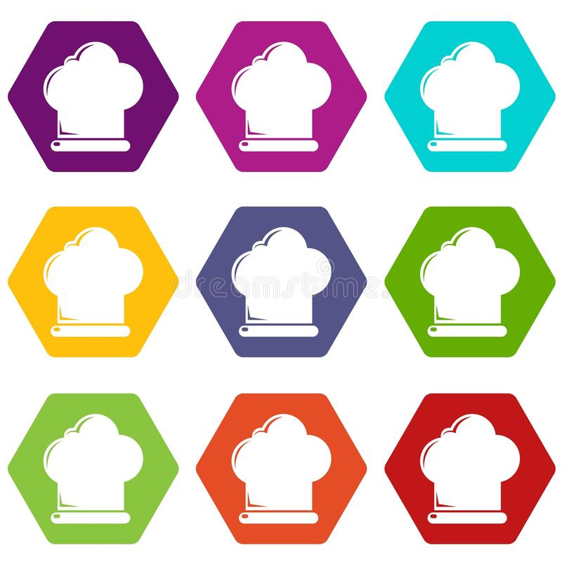 Chef hat icons set 9 vector royalty free illustration
