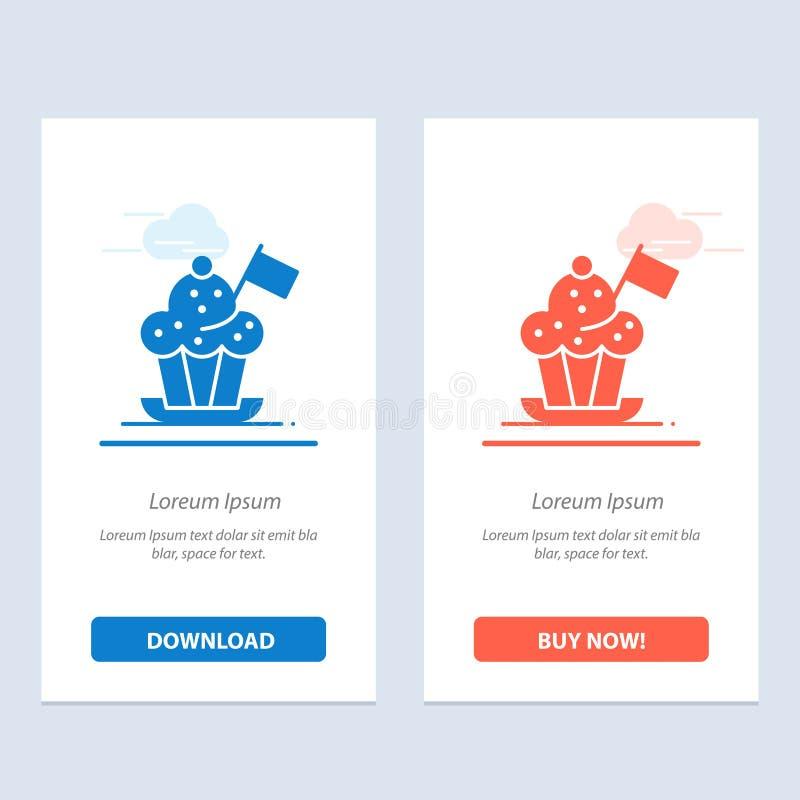 Chef, Chef Hat, Kocher, Kocher-Hut, Flaggen-Blau und rotes Download und Netz Widget-Karten-Schablone jetzt kaufen vektor abbildung