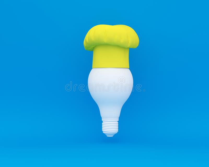 Chef hat with Light bulb concept on blue background. minimal business concept and food idea.  stock illustration