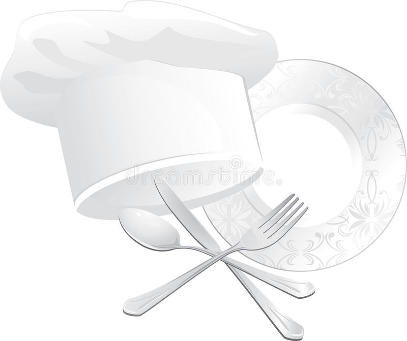 Chef hat, plate with spoon, fork and knife royalty free illustration