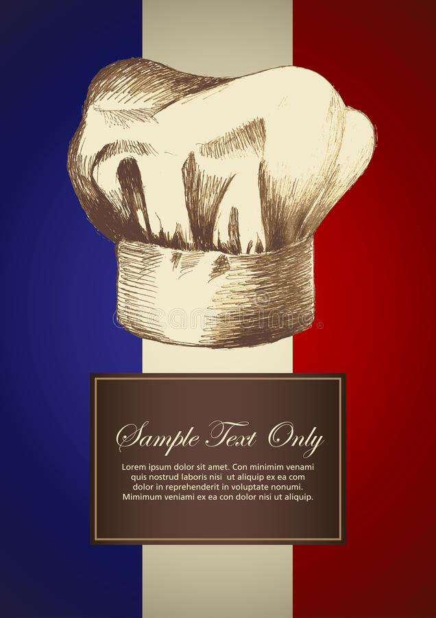 Chef Hat. Sketch illustration of a chef hat on French insignia background stock illustration
