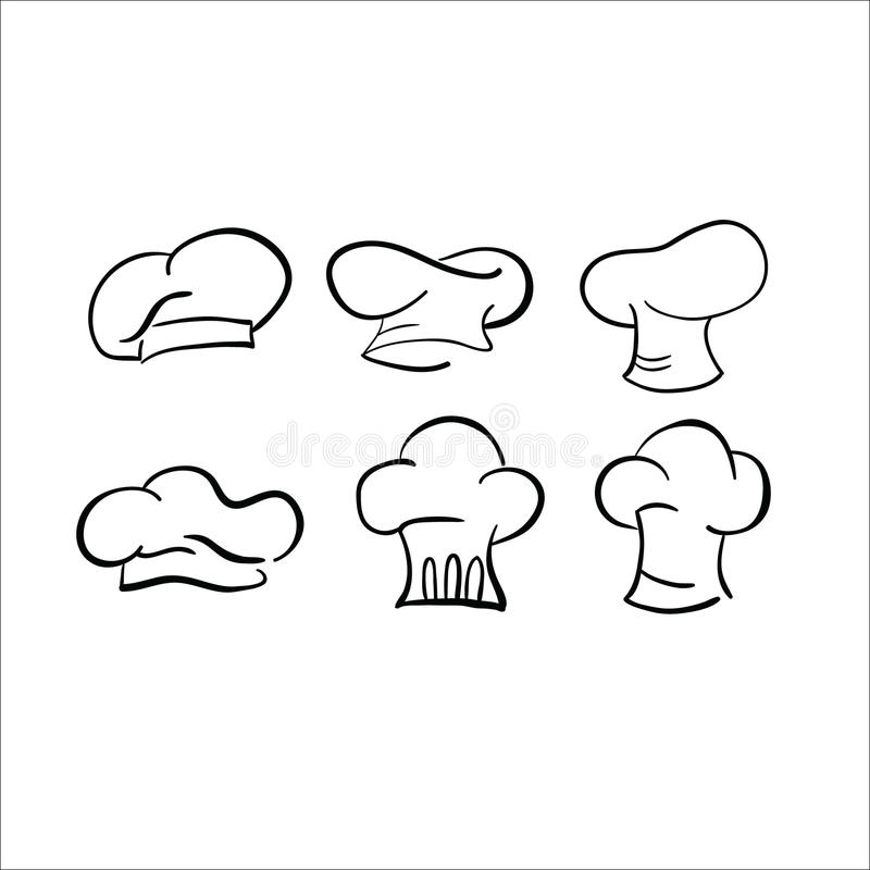 Chef hat sketch vector drawing cap white royalty free illustration