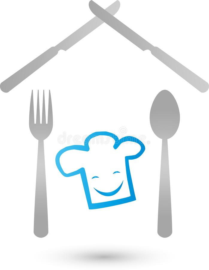 Chef hat with smile, knife, fork and spoon as a house, chef and restaurant logo. Chef Hat with Smile, Knife Fork and Spoon as Home, Chef and Restaurant Logo stock illustration