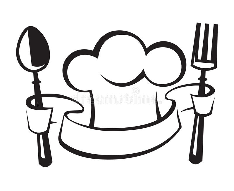 chef hat spoon and fork stock vector illustration of silhouette rh dreamstime com spoon and fork clipart fork knife spoon clipart
