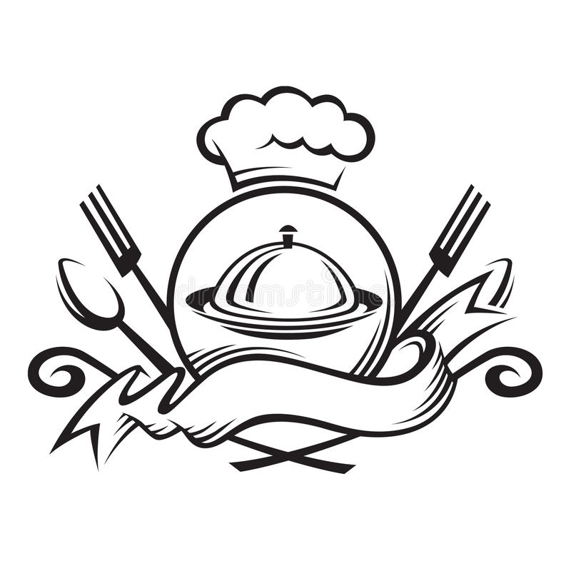 Chef hat with spoon,fork and dish vector illustration