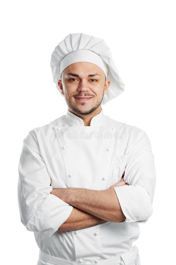 Chef heureux dans l'uniforme blanc photo libre de droits