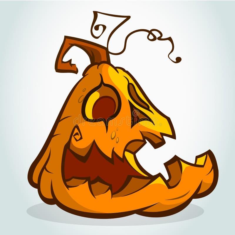 Chef heureux de lanterne de Jack O de potiron de Halloween de bande dessinée avec l'expression de sourire illustration de vecteur