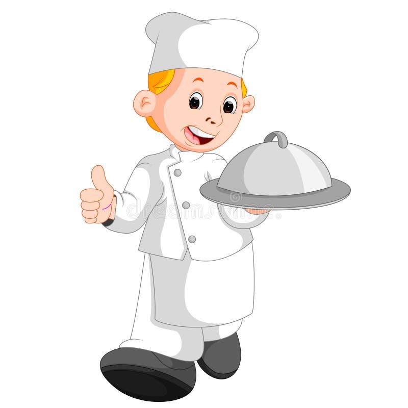 Chef heureux de restaurant tenant un plateau de nourriture en métal illustration de vecteur