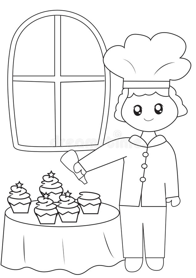 Vector Stock - Funny cook or chief. coloring book. emblem. Clipart ... | 900x635