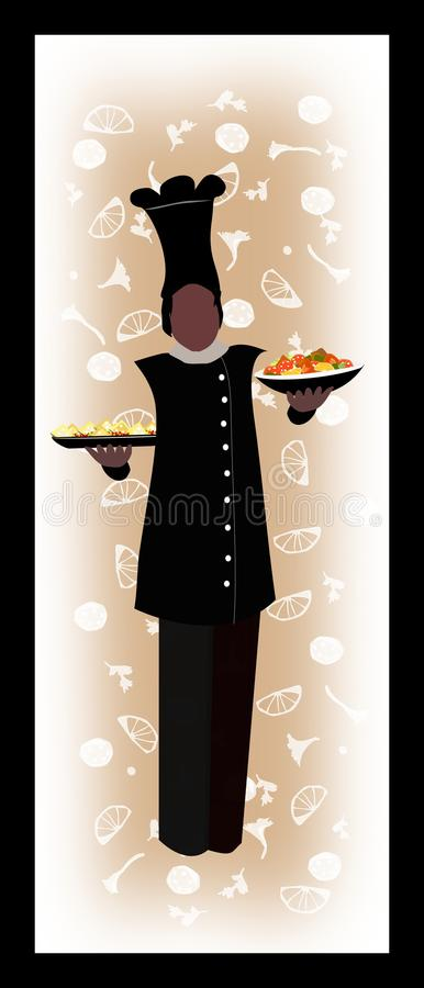 Chef with his dish silhouette stock image