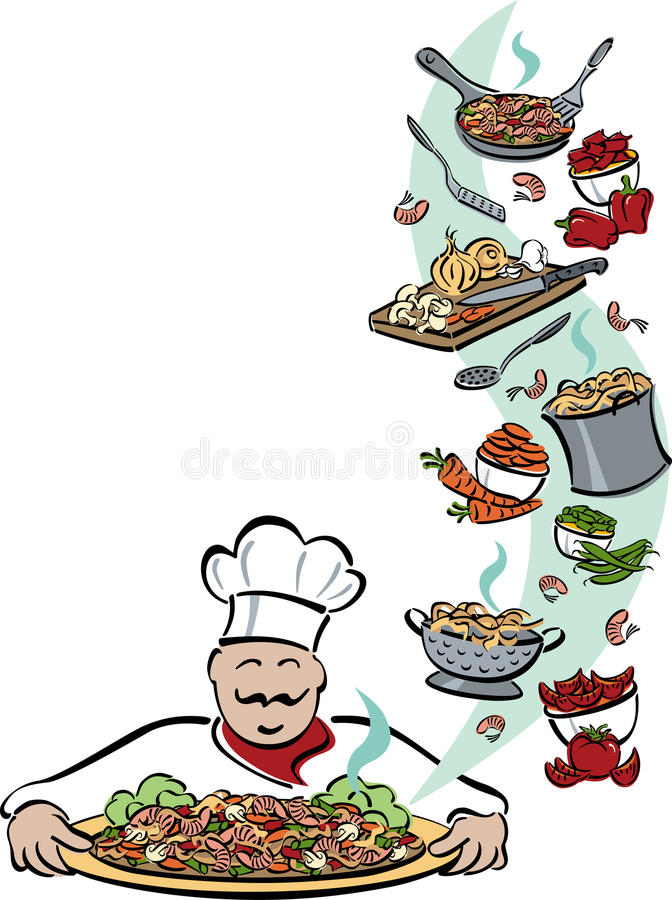 Chef and His Tools vector illustration