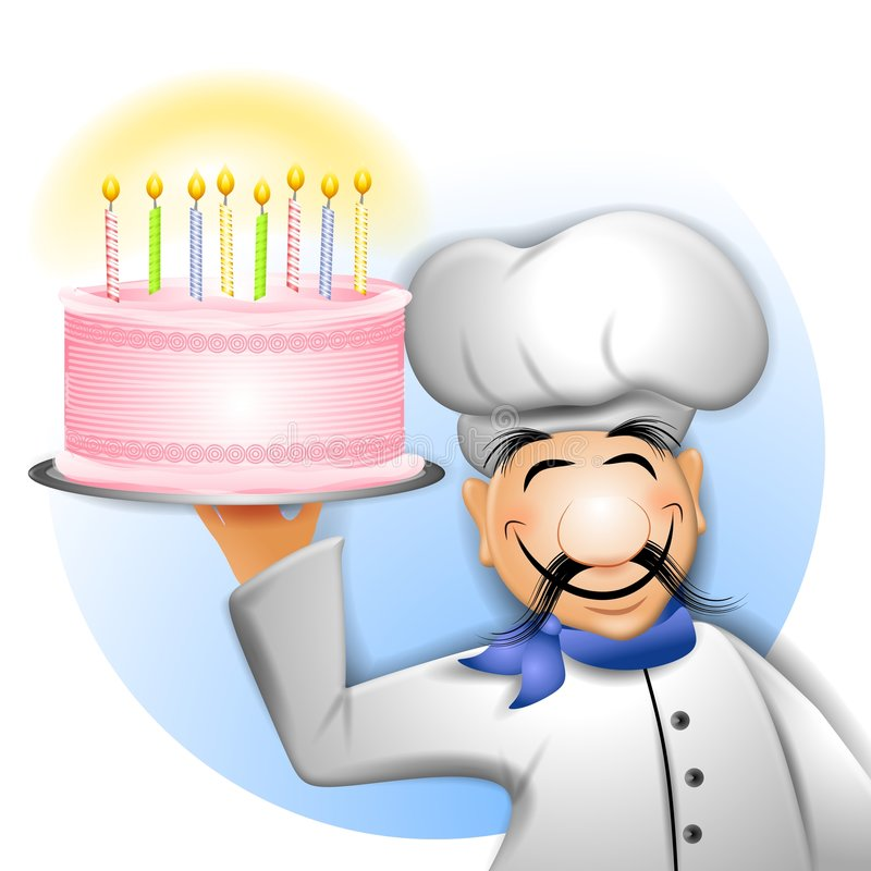 Chef Holding Birthday Cake. An illustration featuring a smiling chef holding a birthday cake lit with candles