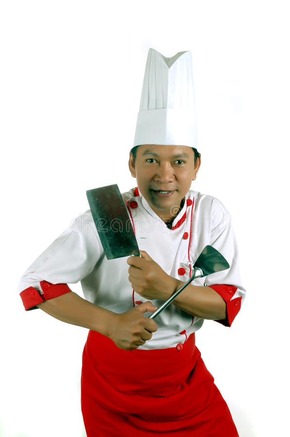 Download Chef Holding Cooking Utensils And Kitchen Knife Stock Photo - Image: 19250972