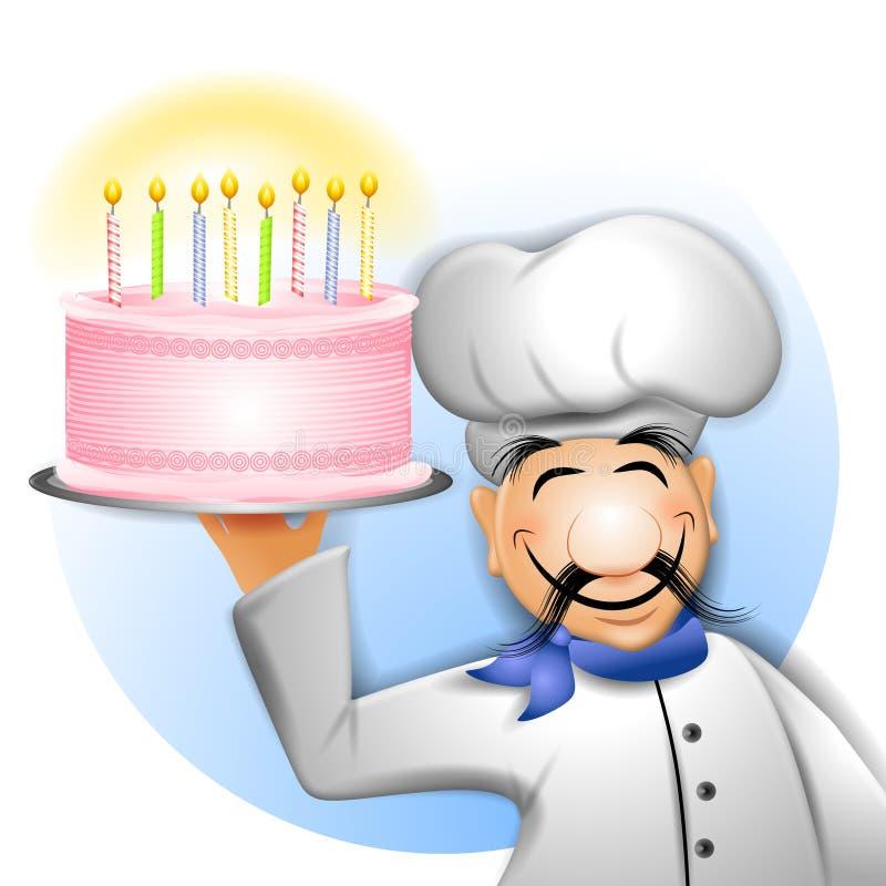 Chef-Holding-Geburtstag-Kuchen vektor abbildung
