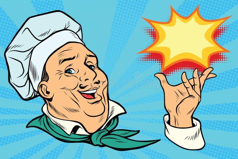 Chef holding hand gesture stock illustration