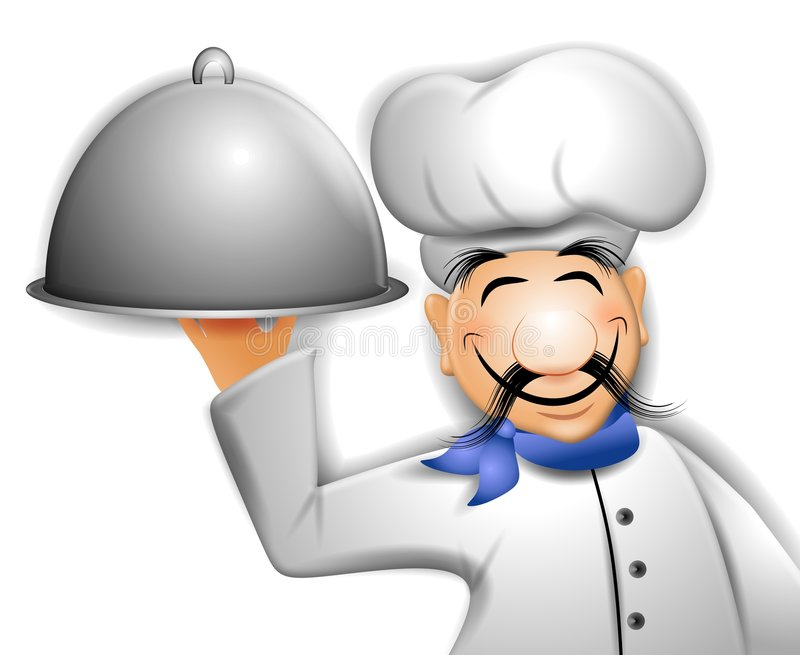 Chef Holding Serving Tray. An illustration featuring a cartoon chef holding serving tray stock illustration