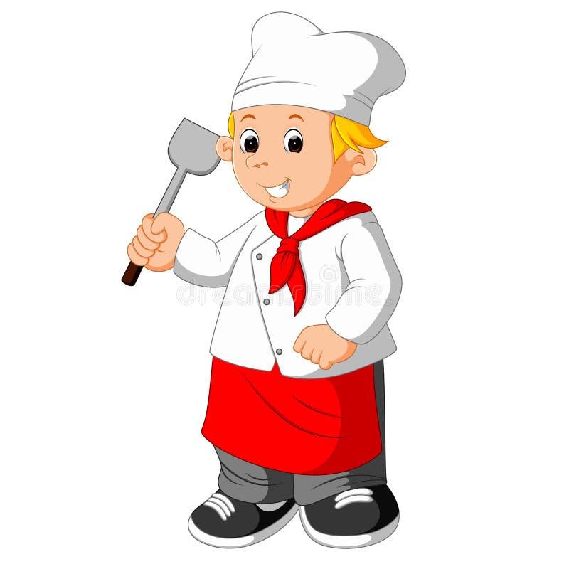 Chef Holding Spatula illustration stock
