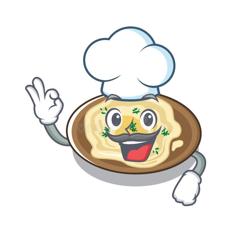 Chef Hummus serviu sobre mesa de cartoon de madeira ilustração do vetor