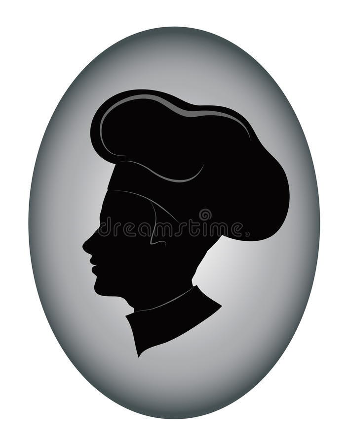 Chef icon. Young chef silhouette illustration stock illustration