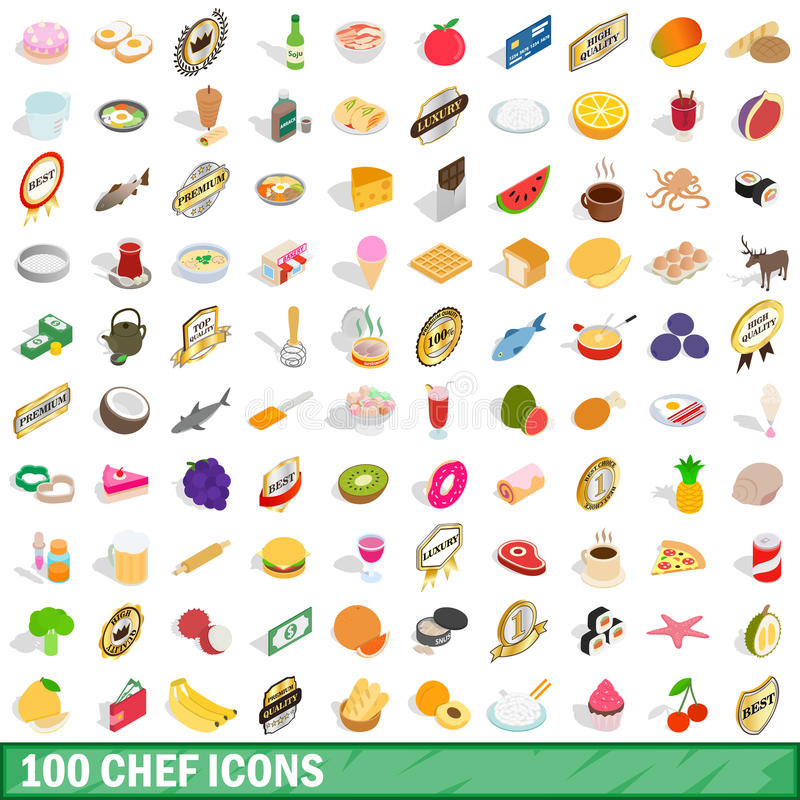 100 chef icons set, isometric 3d style vector illustration