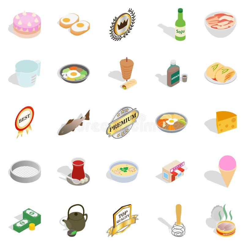 Chef icons set, isometric style royalty free illustration