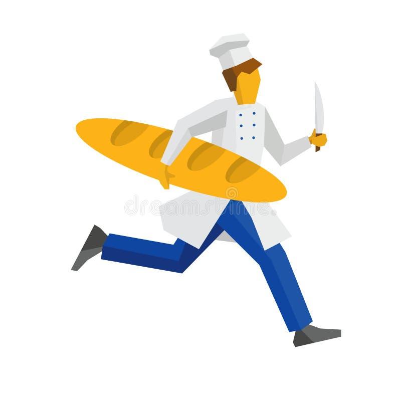 Chef im weißen Hut läuft mit Messer und riesigem Brot vektor abbildung