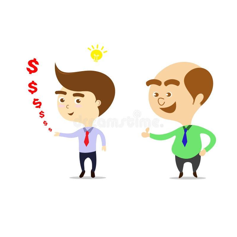 Chef ist glücklich, dass Geschäftsmann mehr Geld verdienen kann vektor abbildung