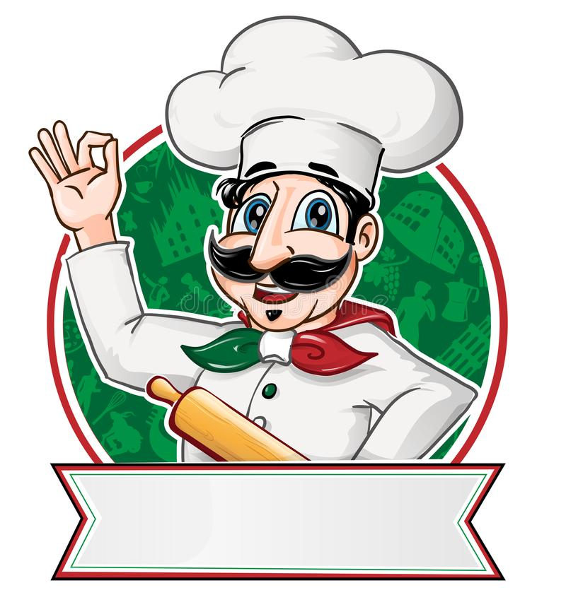 chef italien à l'intérieur d'un cercle illustration de vecteur