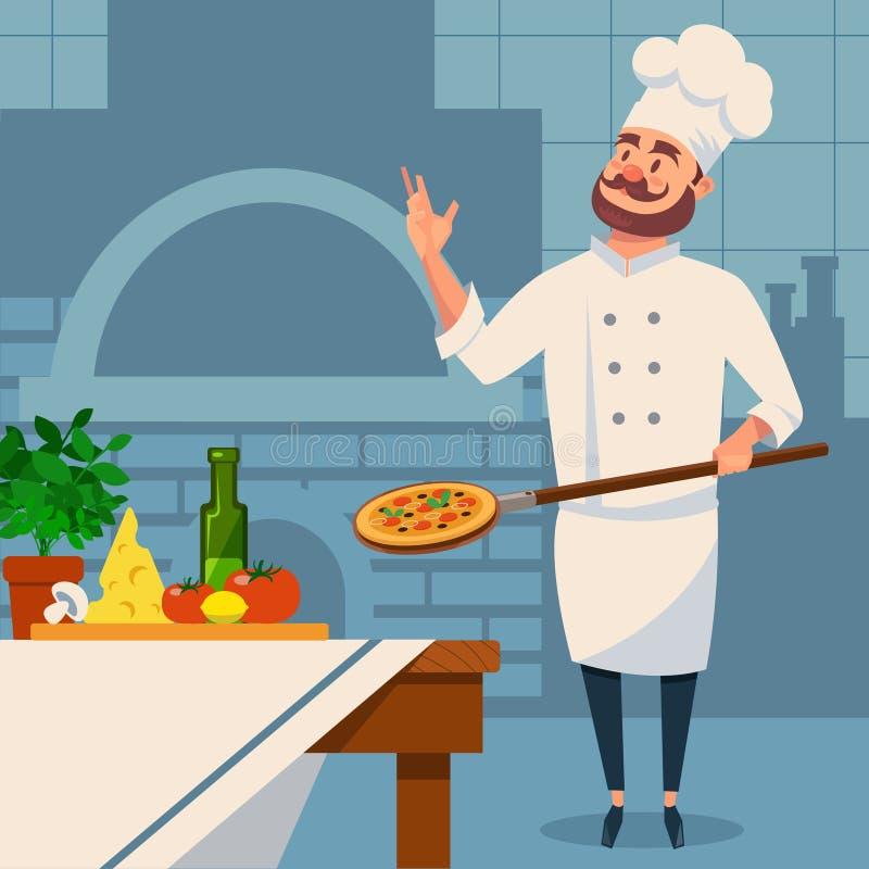 Chef italien barbu dans l'uniforme avec la pizza sur la palette Intérieur de cuisine du restaurant s avec le four de brique Nourr illustration libre de droits