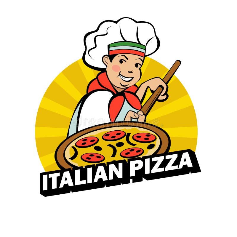 Chef italien Le fabricant de pizza prépare une pizza Pays de rappe de couleur de busines d'Internet de Web de course de planète d illustration libre de droits