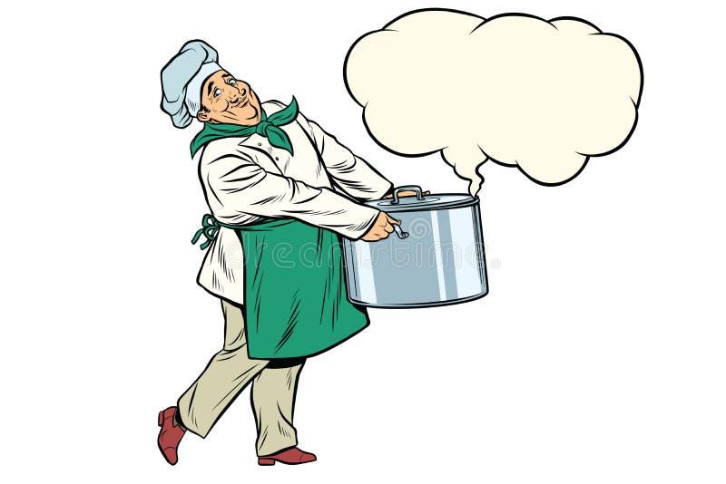 Chef italien ou français tenant un pot chaud, nuage de vapeur illustration de vecteur