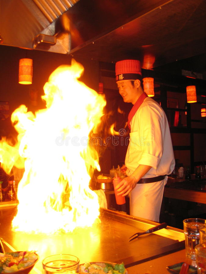 Chef japonais de Hibachi image libre de droits