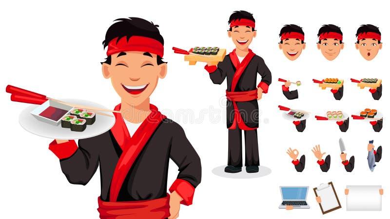 Chef japonais faisant cuire des petits pains de sushi illustration stock