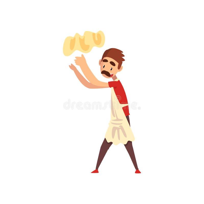 Chef jetant la pâte en l'air dans le ciel, caractère de fabricant de pizza, étape de préparer l'illustration italienne de vecteur illustration stock