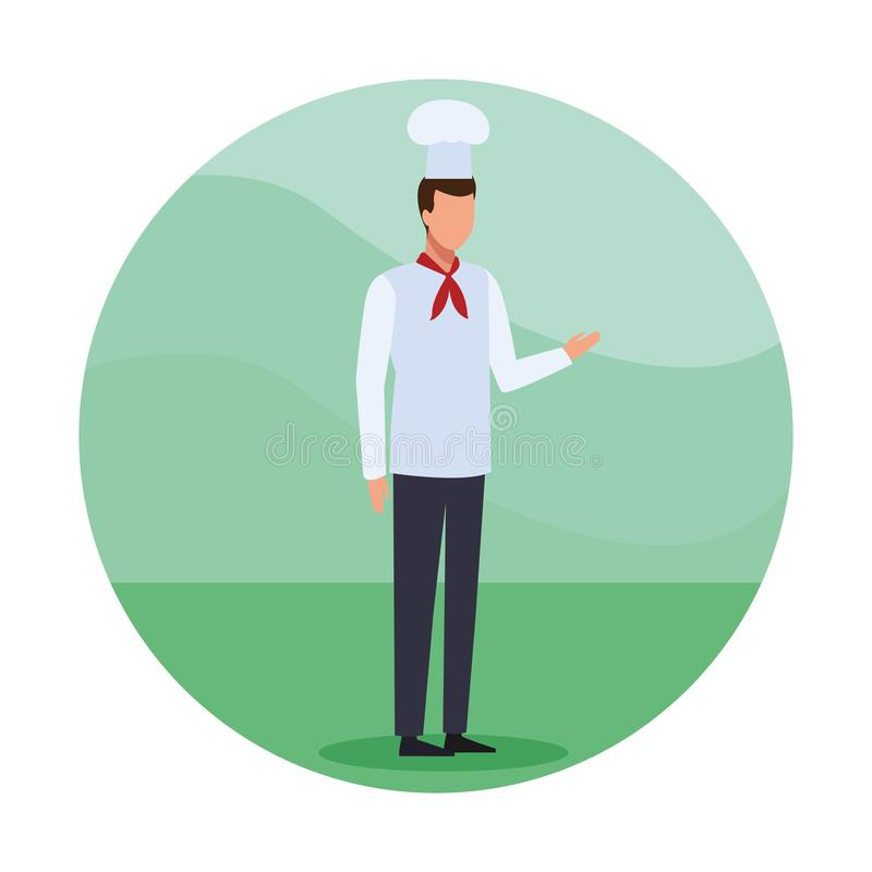 Chef Job worker. Character round icon vector illustration graphic design stock illustration